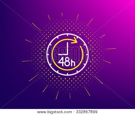 48 Hours Line Icon. Halftone Pattern. Delivery Service Sign. Gradient Background. 48 Hours Line Icon