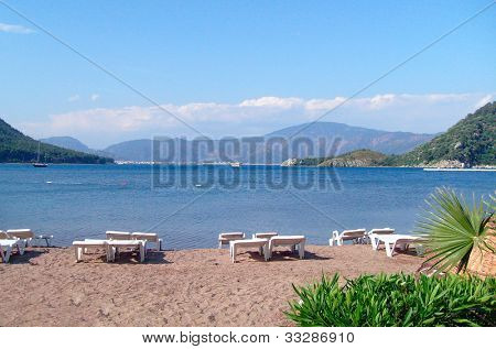 Popular tourist resort of Icmeler in Turkey showing Aegean sea.