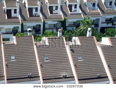 Rooftops of Spanish houses, Calella, Spain.