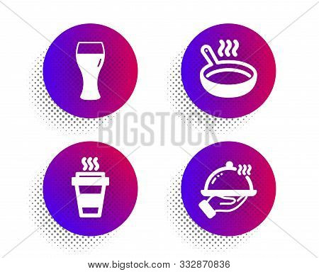 Beer Glass, Frying Pan And Takeaway Icons Simple Set. Halftone Dots Button. Restaurant Food Sign. Br