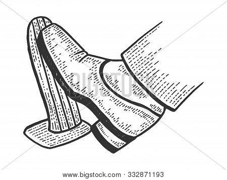 Foot Presses Throttle Car Accelerator Pedal Sketch Engraving Vector Illustration. T-shirt Apparel Pr