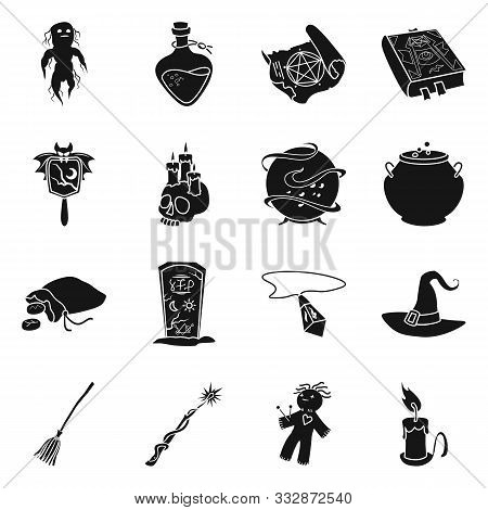 Vector Design Of Witchcraft And Magic Sign. Set Of Witchcraft And Halloween Vector Icon For Stock.