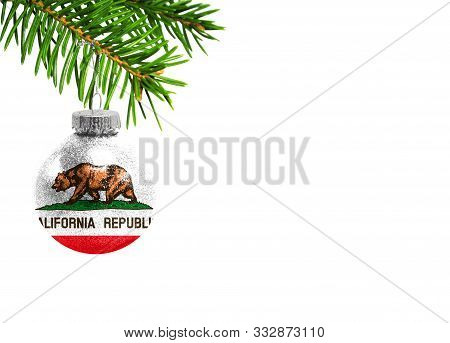 Glass Christmas Ball Toy Isolated On White Background With The Flag State Of California