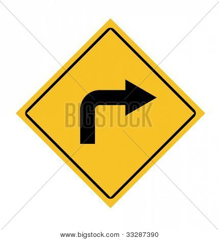 Traffic road sign with right turn arrow.