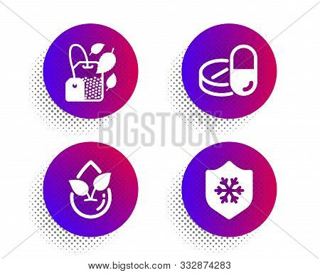 Organic Product, Mint Bag And Medical Drugs Icons Simple Set. Halftone Dots Button. Clean Skin Sign.