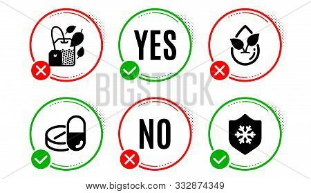Organic Product, Mint Bag And Medical Drugs Icons Simple Set. Yes No Check Box. Clean Skin Sign. Lea