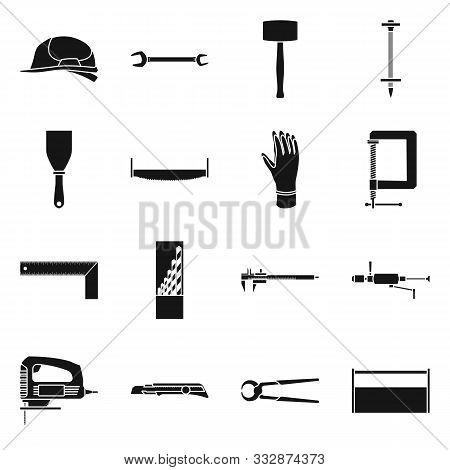 Vector Design Of Handicraft And Construction Logo. Set Of Handicraft And Tool Stock Vector Illustrat