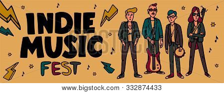 Indie Music Festival Horizontal Banner Or Cover Template. Iillustration Of Musicians And And Indie R