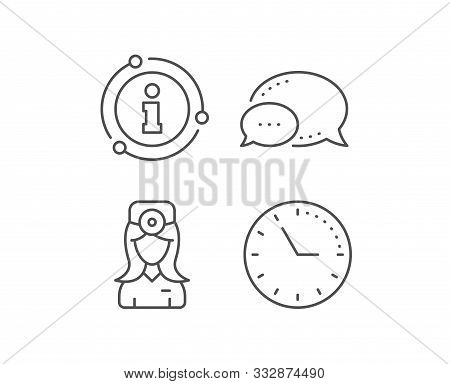 Oculist Doctor Line Icon. Chat Bubble, Info Sign Elements. Health Eye Sign. Optometry Clinic Symbol.