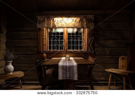 Still Life Of Staged And Arranged Dark And Rustic Old Fashioned Interior Decor In Nineteenth Century