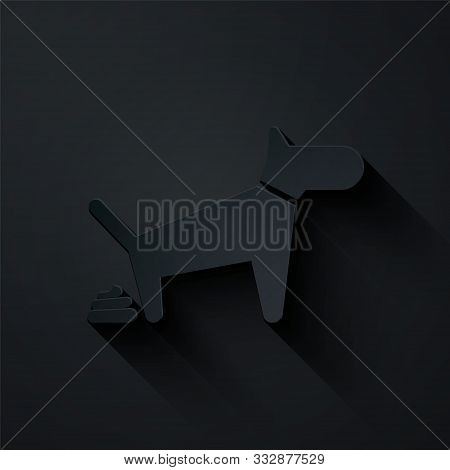 Paper Cut Dog Pooping Icon Isolated On Black Background. Dog Goes To The Toilet. Dog Defecates. The