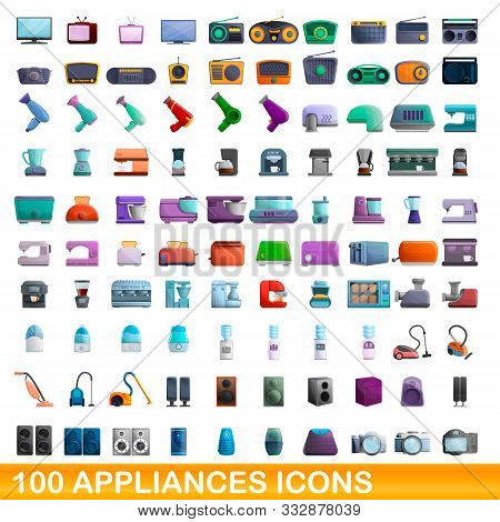 100 Appliances Icons Set. Cartoon Illustration Of 100 Appliances Icons Vector Set Isolated On White