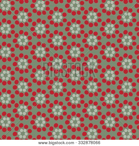 Flower Stamens An Organic Geometric Seamless Vector Pattern. Stamens Spread Out In Circles Stacked T