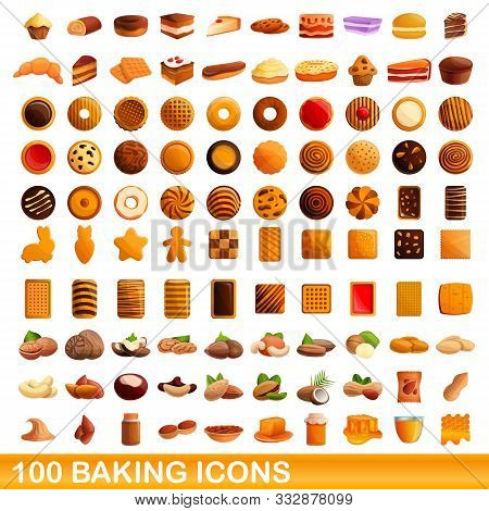 100 Baking Icons Set. Cartoon Illustration Of 100 Baking Icons Vector Set Isolated On White Backgrou