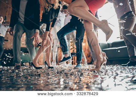 Low Angle View Cropped Close-up Photo Of Legs Girls Guys Meeting Rejoicing Dance Floor X-mas Party G