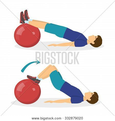 Exercise Ball Workout. Idea Of Body Health And Training In The Gym.