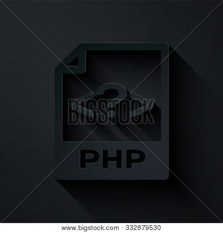 Paper Cut Php File Document. Download Php Button Icon Isolated On Black Background. Php File Symbol.