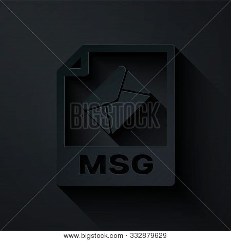 Paper Cut Msg File Document. Download Msg Button Icon Isolated On Black Background. Msg File Symbol.