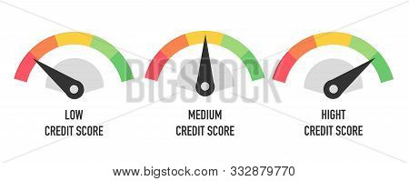 Credit Score Hight, Medium And Low Concept Isolated On White. Vector