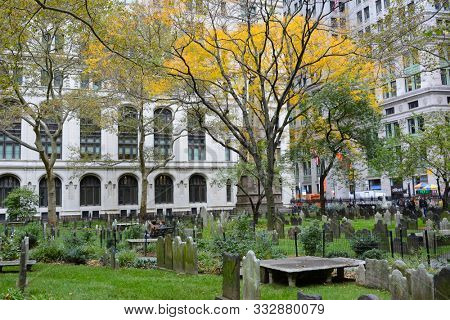 New York, NY - 05 NOV 2019:  Cemetery at Trinity Church, a historic parish church in the Episcopal Diocese of New York located near the intersection of Wall Street and Broadway.