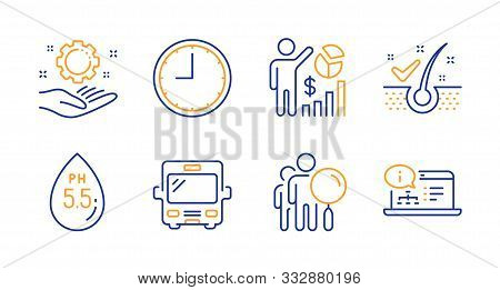 Employee Hand, Anti-dandruff Flakes And Ph Neutral Line Icons Set. Search People, Seo Statistics And