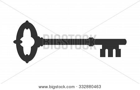 Door Key Graphic Icon. Ancient Key Sign Isolated On White Background. Vector Illustration