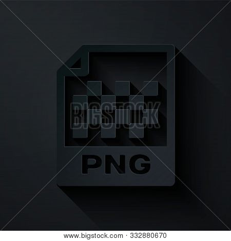 Paper Cut Png File Document. Download Png Button Icon Isolated On Black Background. Png File Symbol.