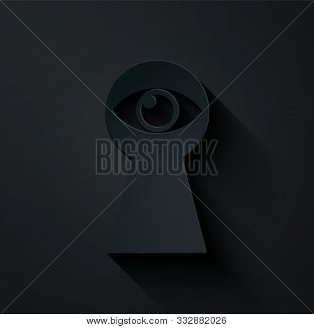 Paper Cut Keyhole With Eye Icon Isolated On Black Background. The Eye Looks Into The Keyhole. Keyhol