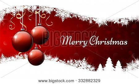 Merry Christmas Banner. Three Red Christmas Ornament Balls On Red And White Background. Vector Illus