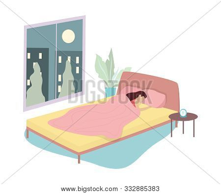 Woman Sleep. Person Rest In The Bed On The Pillow Late At Night.