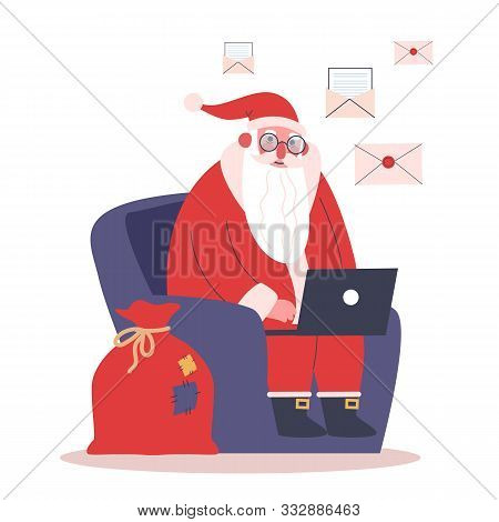 Happy Funny Santa Claus In Red Clothes Sitting In The Armchair