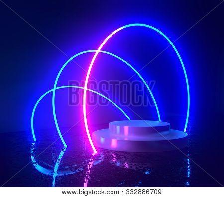 3d Rendering, Neon Light, Glowing Lines, Ultraviolet, Stage, Portal, Circle Portal, Pedestal, Virtua