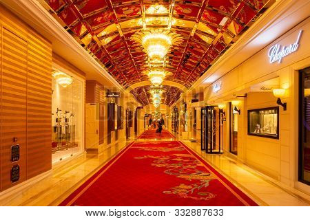 October 31, 2019: Macau, China - Interior Of The Wynn Palace, A Large Upscale Casino And Hotel With