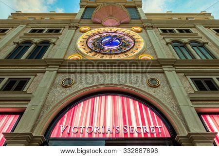 October 31, 2019: Macau, China - Victoria Secret Store Under European Clock At The Venetian Hotel An