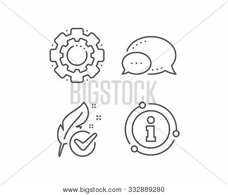 Hypoallergenic Tested Line Icon. Chat Bubble, Info Sign Elements. Feather Sign. No Synthetic Symbol.