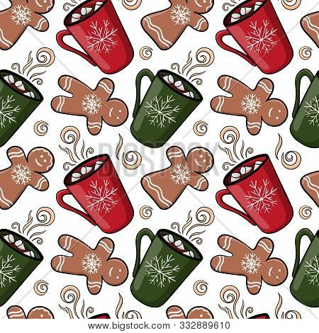 Seamless Christmas Pattern With Mug With Hot Drink, Marshmallow, Gingerbread. Endless Texture For Fa