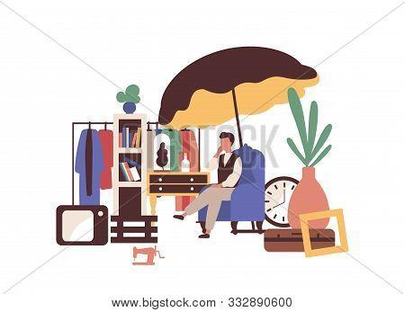 Garage Sell Vector Illustration. Flea Market Idea. Second Hand Seller Flat Character Isolated On Whi