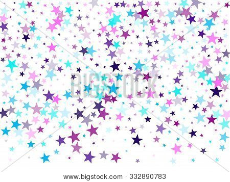 Flying Stars Confetti Holiday Vector In Cyan Blue Violet On White. New Year Festive Sparkles Design.