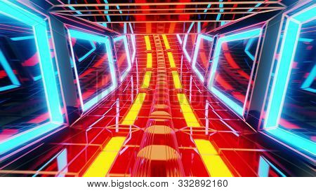Futuristic Glowing Scifi Science-fiction Glass Tunnel 3d Illustration Background Wallpaper,