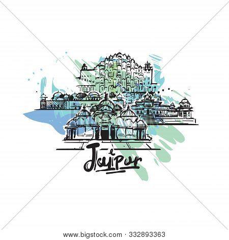 Jaipur Abstract Art Color Drawing. Jaipur Sketch Vector Illustration.