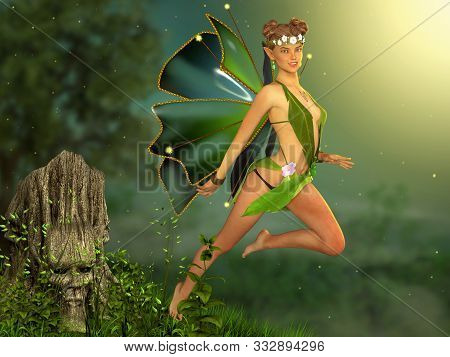 Beautiful Enchanting Flying Fairy Girl In A Magical Deep Forest In A Fantasy Dress, 3d Render
