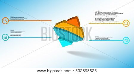3D Illustration Infographic Template With Embossed Bent Rhomb Horizontally Divided To Four Parts Ask