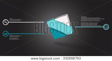 3D Illustration Infographic Template With Embossed Bent Rhomb Horizontally Divided To Three Parts As