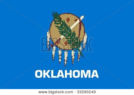 Oklahoma state flag of America, isolated on white background.