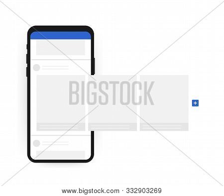 Smartphone With Interface Carousel Post On Social Network. Vector Stock Illustration.