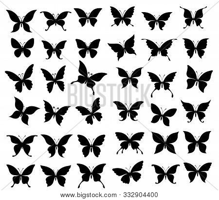 Butterfly Black Silhouettes Of Spring Insects. Butterflies And Moth With Wide Spread Wings Vector De
