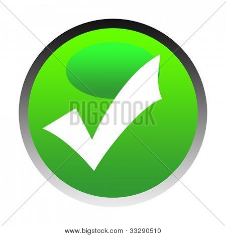 Green tick or check mark button isolated on white background.