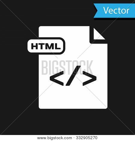 White Html File Document. Download Html Button Icon Isolated On Black Background. Html File Symbol.