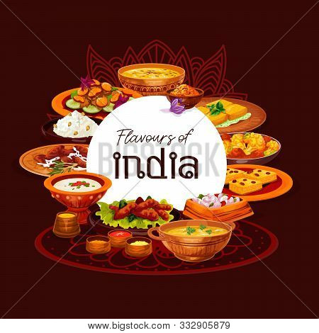 Indian Cuisine Thali Dishes Vector Design, Served With Spice Rice, Meat Curry And Vegetable Casserol
