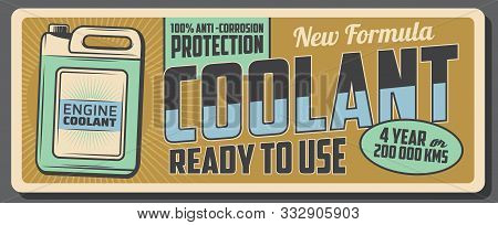 Car Engine Coolant Retro Banner Of Vector Jerry Can With Antifreeze Liquid Or Heat Transfer Fluid Of